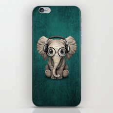 Cute Baby Elephant Dj Wearing Headphones and Glasses on Blue iPhone Skin