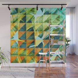 Abstract Geometric Tropical Banana Leaves Pattern Wall Mural