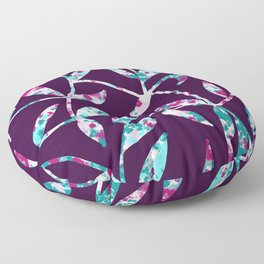 Watercolor Leaves Fill Purple Floor Pillow
