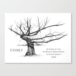 Gnarled Tree in Pencil with Quote About FAMILY Unity and Roots Canvas Print