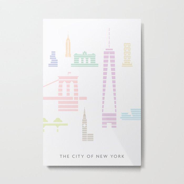 New York Skyline One WTC Poster Pastel Metal Print