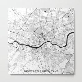 Newcastle upon Tyne Map Gray Metal Print
