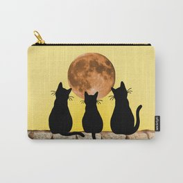 Three Black Cats on Brick Wall - Big Moon Carry-All Pouch