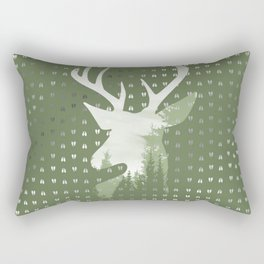 Green Deer Abstract Footprints Landscape Design Rectangular Pillow