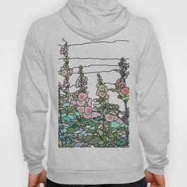 flowers and leaves on white background Hoody