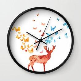 Deer and Butterflies Wall Clock