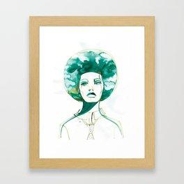 Green Afro Queen Framed Art Print