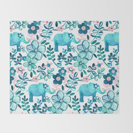 Dusty Pink, White and Teal Elephant and Floral Watercolor Pattern Throw Blanket