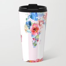 Floral World - Pink Stripe Travel Mug