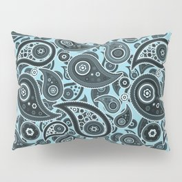 Electric Blue Paisley Pattern Pillow Sham