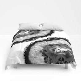 Gray Black White Agate Finesse #1 #gem #decor #art #society6 Comforters