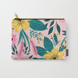 Trendy Girly Yellow Hand Paint Floral Design Carry-All Pouch