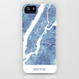 New York City Map United states watercolor iPhone Case