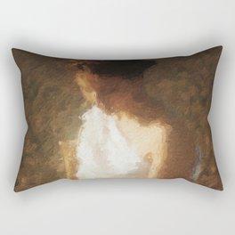 woman in a white dress Rectangular Pillow