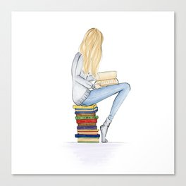 Bookworm in blond Canvas Print