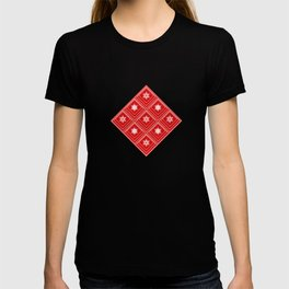Geometric pattern with snowflakes.White snowflakes on red T-shirt