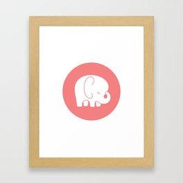 Mod Baby Elephant Coral Framed Art Print