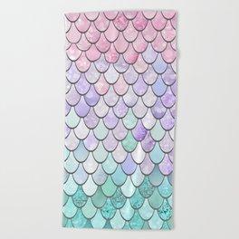 Mermaid Pastel Pink Purple Aqua Teal Beach Towel
