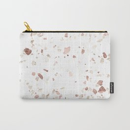 Rose Gold on White Terrazzo Carry-All Pouch