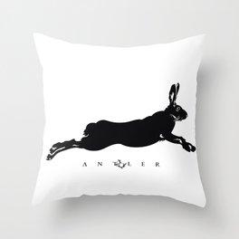 Running Hare - Black Throw Pillow
