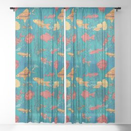 Fish garden Sheer Curtain