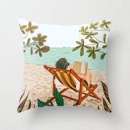 Vacay Book Club #illustration #tropical Throw Pillow