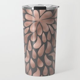 Rosegold - abstract floral elegant pattern on grey background Travel Mug