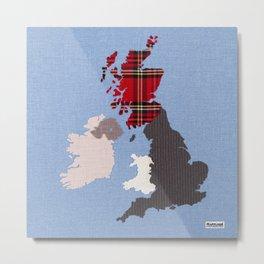 British Isles Fabric Map Art Metal Print