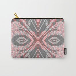 Pink Ombre Glow Boho Feather Geometric Carry-All Pouch