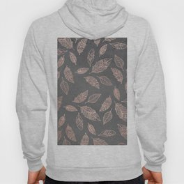 Rose gold hand drawn boho feathers hand drawn grey industrial concrete cement Hoody