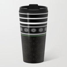 Green Black and White Stripes and Mandala Pattern Metal Travel Mug