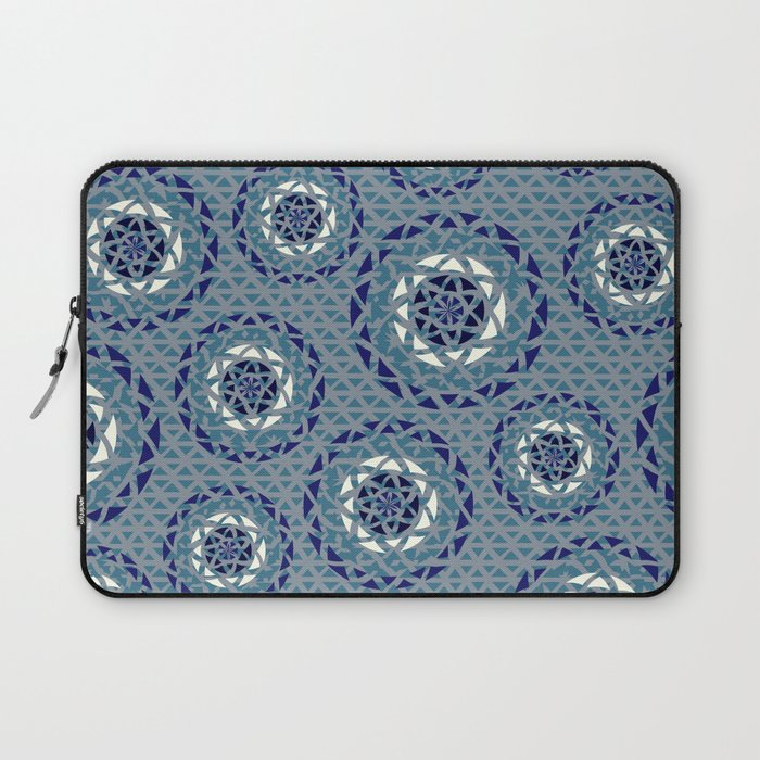 Blue lace Mandalas pattern Laptop Sleeve