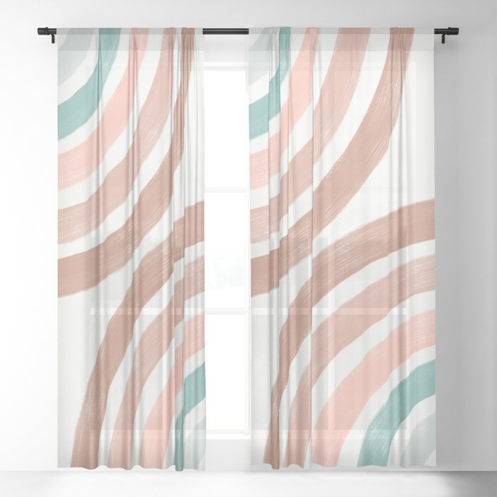 Double Retro Rainbows Sheer Curtain