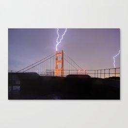 Golden Gate Bridge Double Lightning Strike Canvas Print