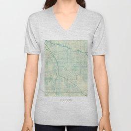 Tucson Map Blue Vintage Unisex V-Neck