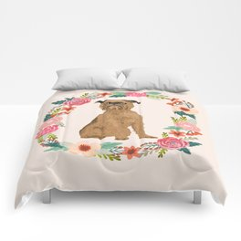 brussels griffon dog floral wreath dog gifts pet portraits Comforters