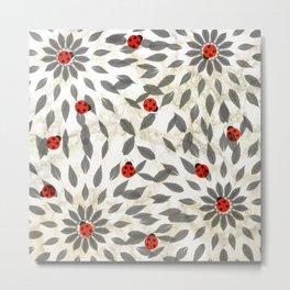 Sweet Ladybugs on Marble Metal Print