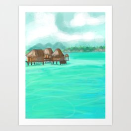 Painterly over the water bungalows in French Polynesia  Art Print