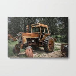 International 966 Rust Red Tractor with Cab Rusty Tractors Metal Print