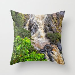 Waterfall in the rainforest Throw Pillow