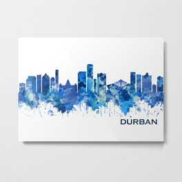 Durban South Africa Skyline Blue Metal Print