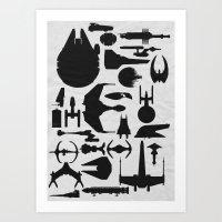 sci fi Art Prints featuring Famous Sci Fi Ships by Ewan Arnolda