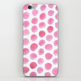 Pink Polka Dot Watercolour iPhone Skin