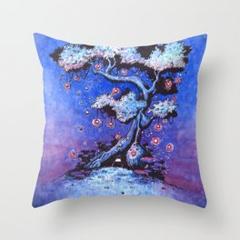 Ninja and the tree of lights Throw Pillow