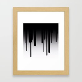 Black and White Paint Dripping Abstract Framed Art Print