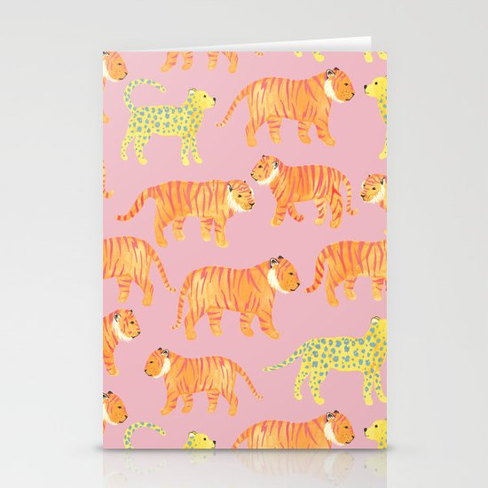 Pink Tigers Stationery Cards