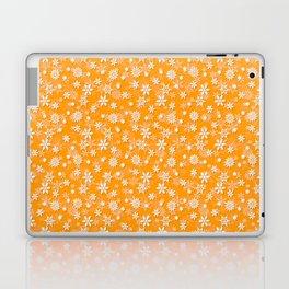 Festive Mango Mojito Orange and White Christmas Holiday Snowflakes Laptop & iPad Skin