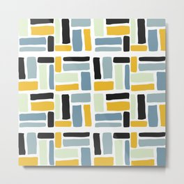 Abstract yellow black geometric modern brushstrokes  pattern Metal Print