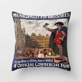Vintage poster -Belgium Throw Pillow