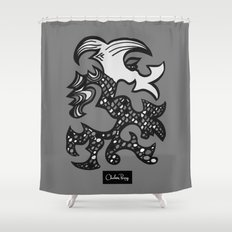 Kissing Dragon Black and white Shower Curtain